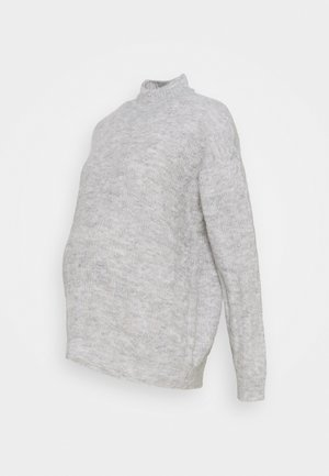PCMBECKY HIGH NECK CABLE - Jumper - light grey melange