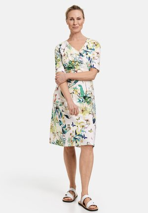 Day dress - off white ligh lime aloe druck