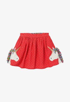 FRÖHLICHER ROCK MIT RÜSCHENAPPLIKATIONEN - Mini skirt - rockabilly-rot, einhorn