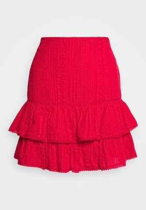 FRILL STRUCTURE - A-line skirt - red