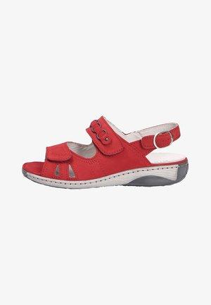 Sandalen met sleehak - rubin