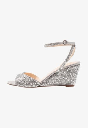 ELORA - Wedge sandals - silver