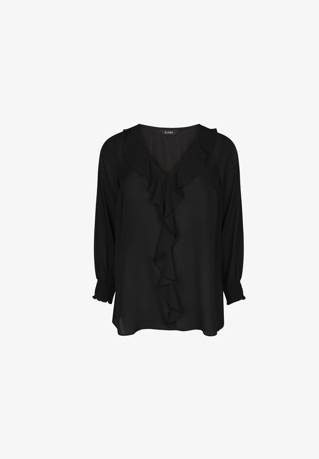 FRILL FRONT - Long sleeved top - black