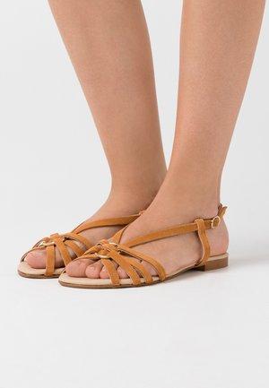 LEATHER - Sandals - cognac