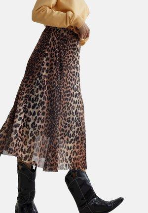 WILD LEOPARD SHEER - A-line skirt - brown