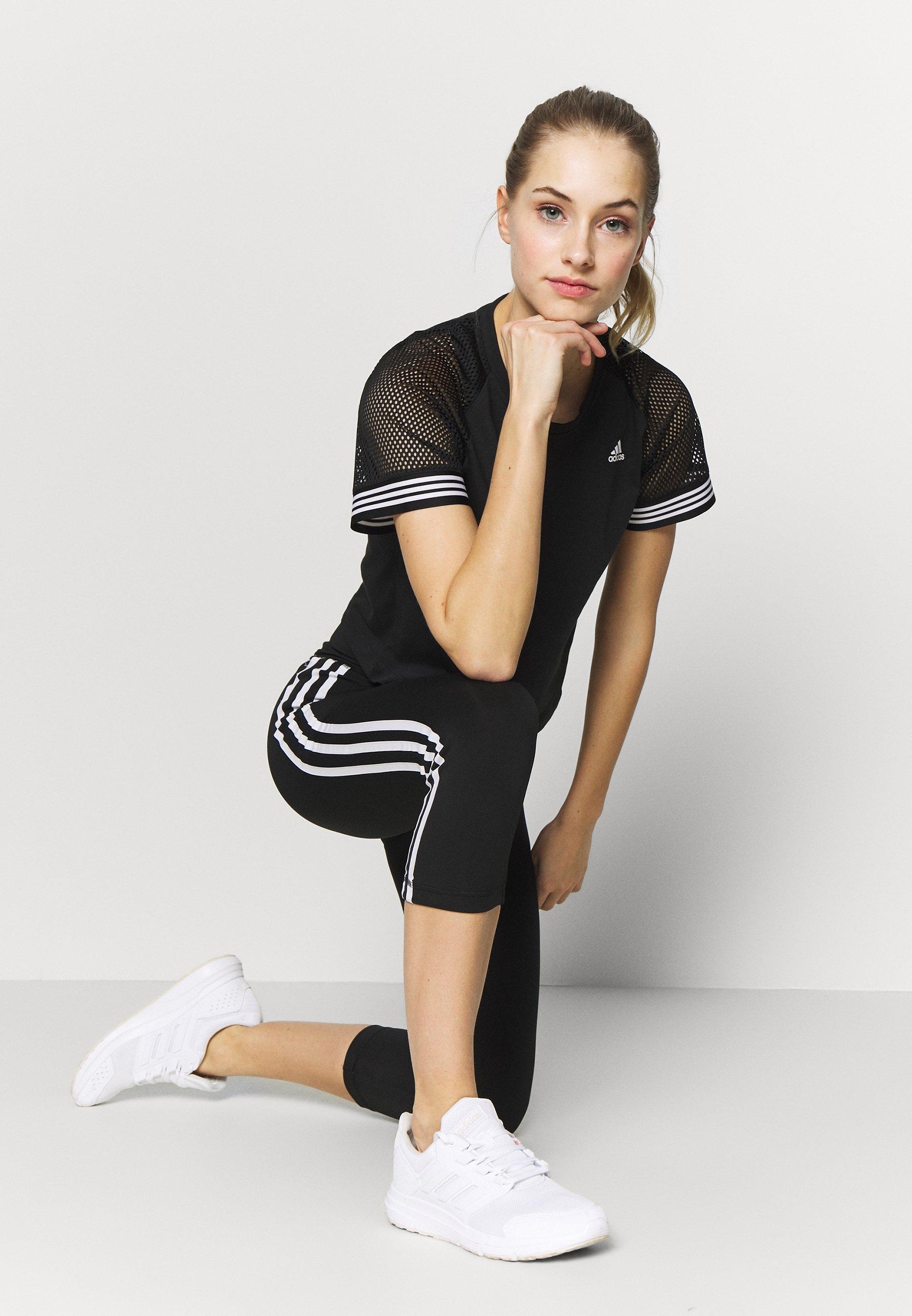 adidas Performance RINGER TEE T Shirt print blackwhite