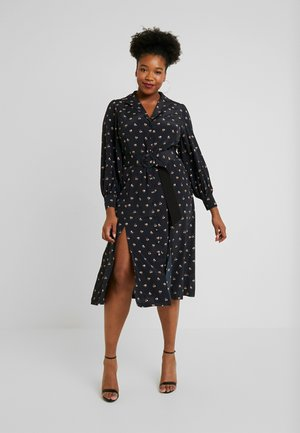 PRINTED BUTTON THROUGH DRESS - Shirt dress - black