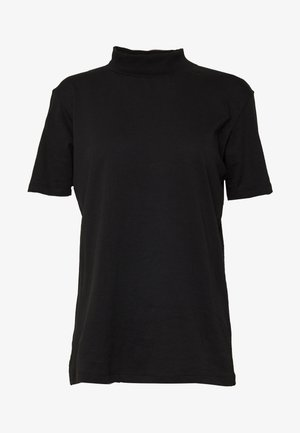 WITH WIDE COLLAR - Basic T-shirt - black