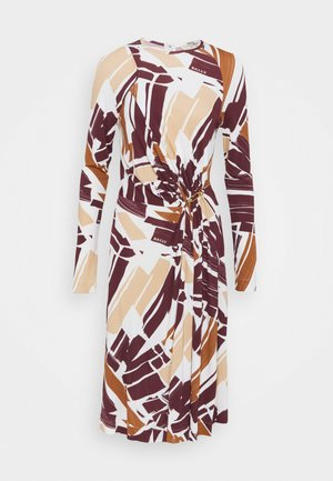 PRINTED DRESS - Žerzejové šaty - white/brown