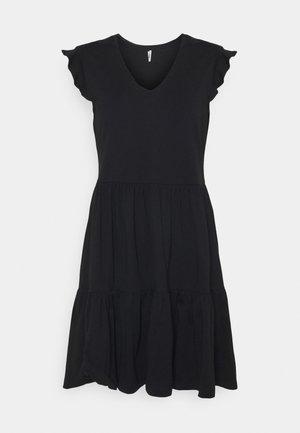 ONLMAY LIFE CAP SLEEVES FRILL DRESS - Sukienka z dżerseju - black