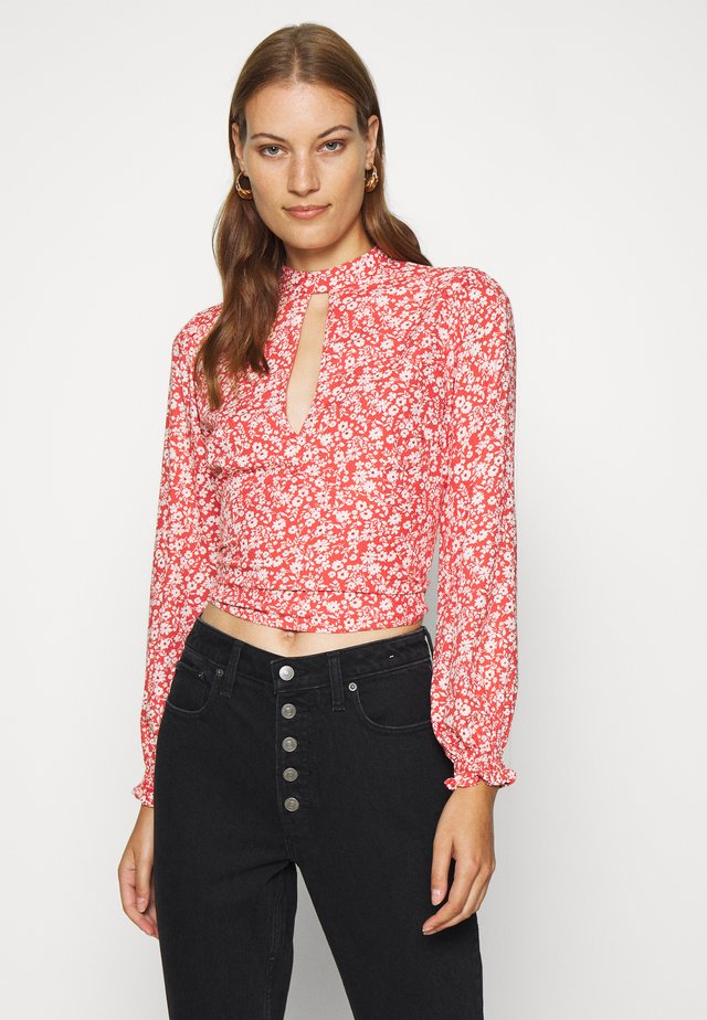 TIE BACK BLOUSE  - Blouse - red/white