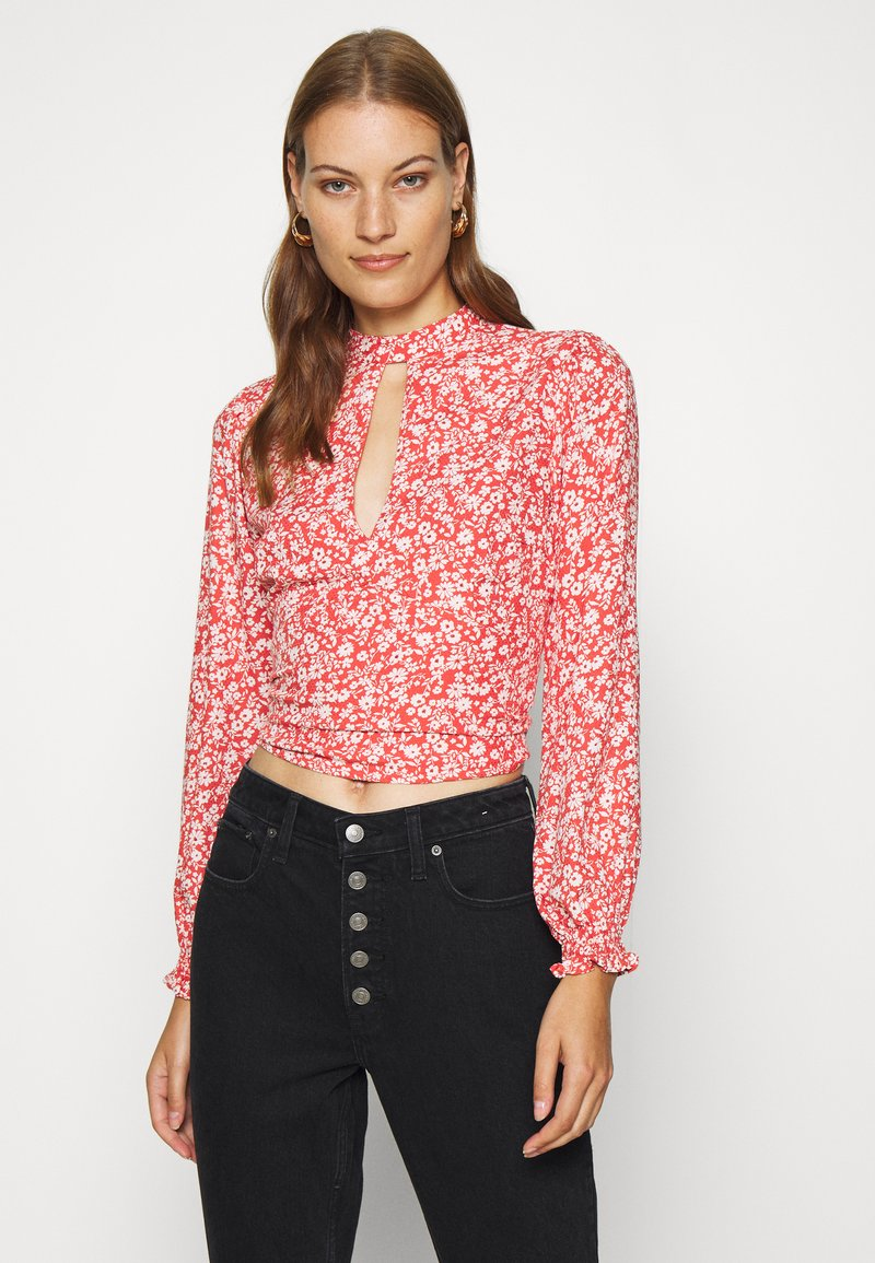 Abercrombie & Fitch - TIE BACK BLOUSE  - Blůza - red/white