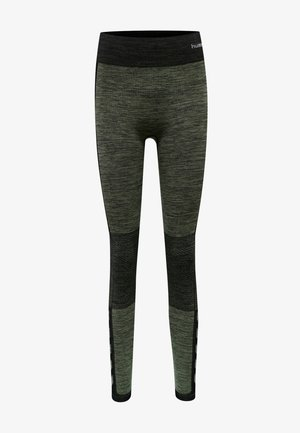 HMLCLEA  - Leggings - black/vetiver melange