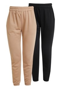 Missguided - BASIC 2 PACK JOGGERS - Trousers - black/camel - 0