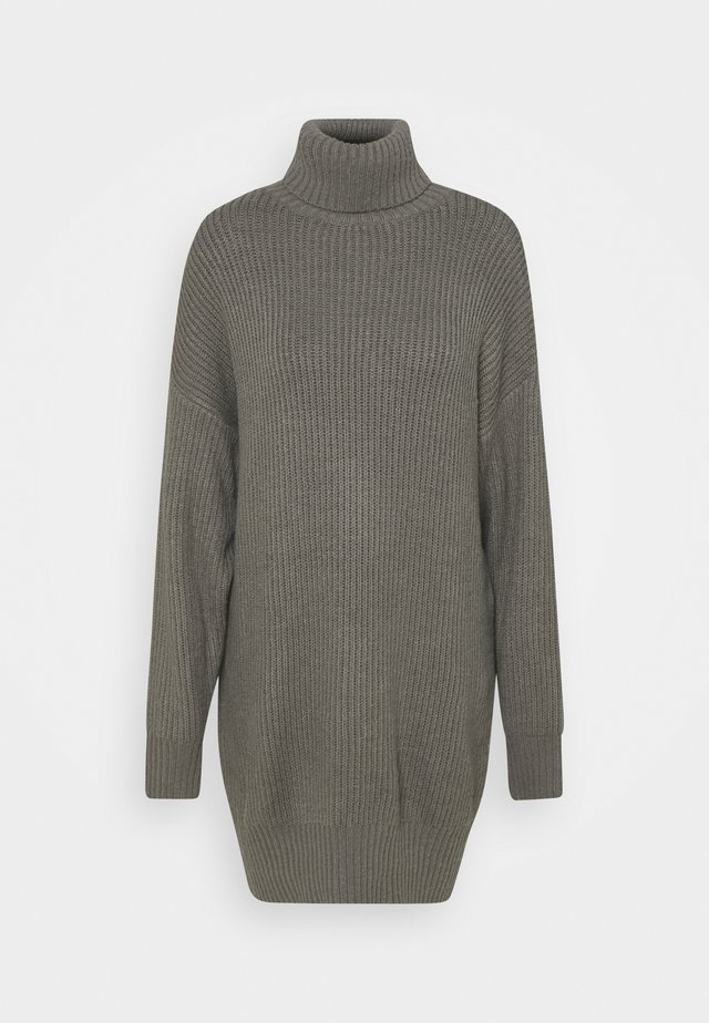 PREMIUM BOYFRIEND ROLL NECK DRESS - Neulemekko - grey