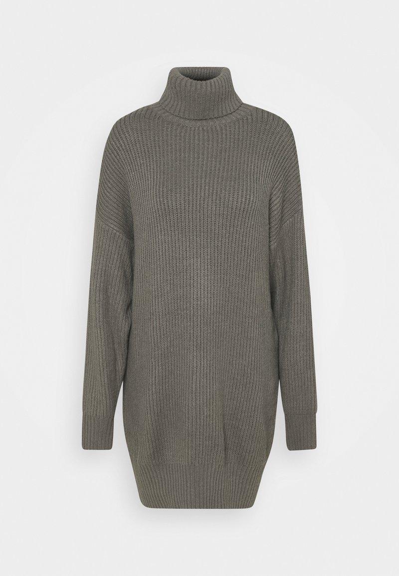 Missguided Tall - PREMIUM BOYFRIEND ROLL NECK DRESS - Strikket kjole - grey