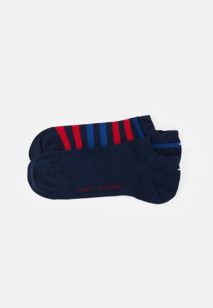 MEN DUO STRIPE SNEAKER 2 PACK - Trainer socks - blue/red