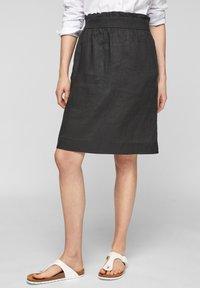 s.Oliver - A-line skirt - black melange - 0