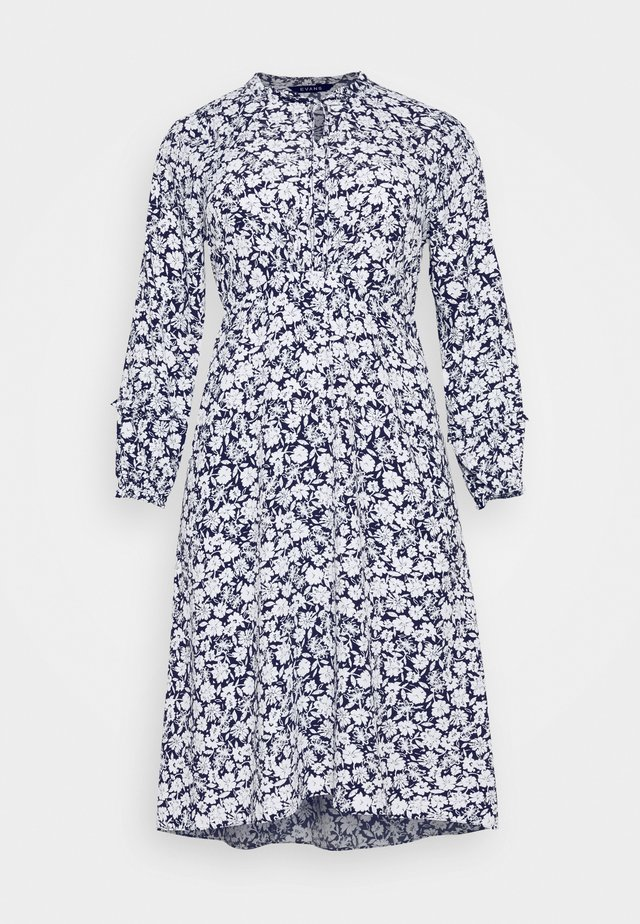 FLORAL PRINT TIE NECK SKATER DRESS - Day dress - navy