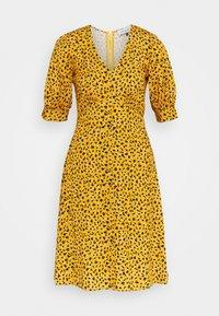 Closet - CLOSET PUFF SLEEVE VNECK DRESS - Day dress - mustard - 0