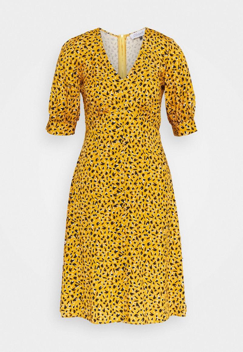 Closet - CLOSET PUFF SLEEVE VNECK DRESS - Day dress - mustard