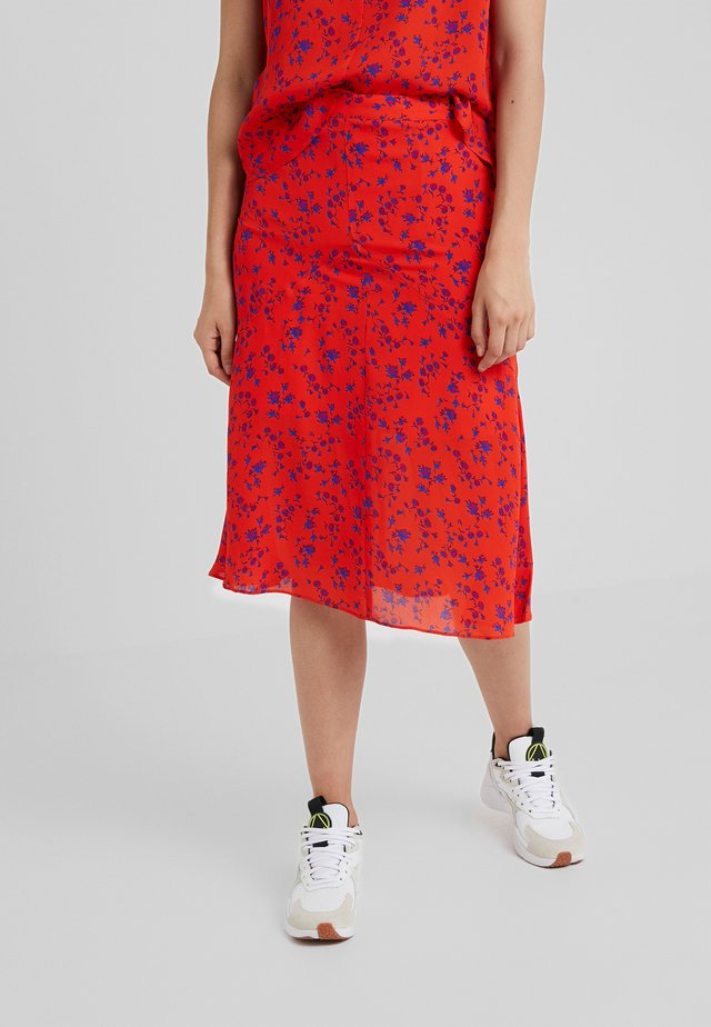 CUT UP SEAM SKIRT - A-line skirt - blazing orange