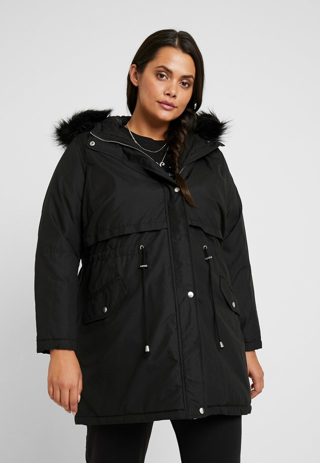 HOODED - Parka - black