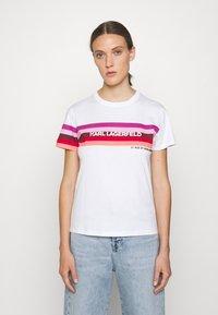 KARL LAGERFELD - STRIPE GRAPHIC LOGO - Print T-shirt - white - 0