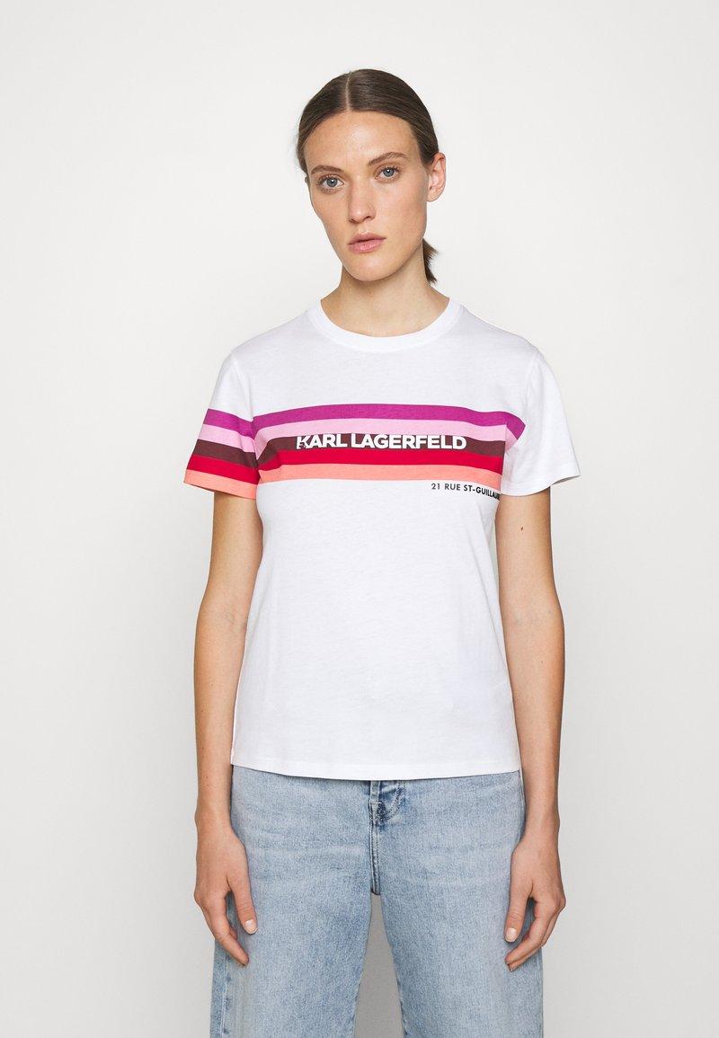 KARL LAGERFELD - STRIPE GRAPHIC LOGO - Print T-shirt - white