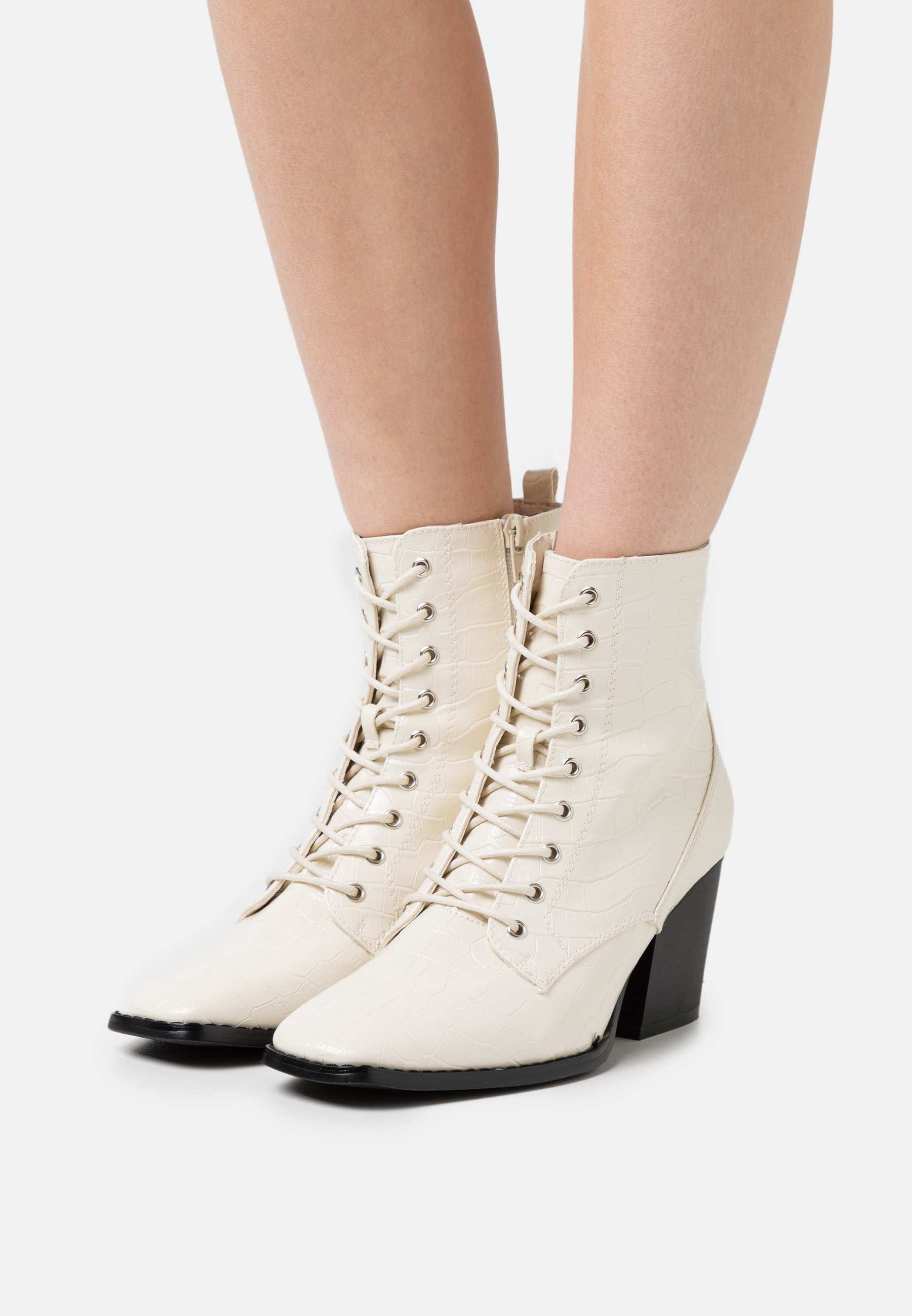 Women Lace-up ankle boots - bone