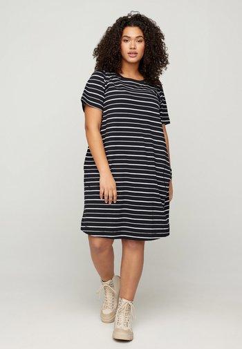 CADORIT - Day dress - black w. stripe