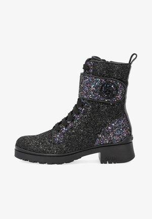 Lace-up ankle boots - black/blue