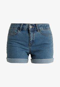 NMBE LUCY FOLD - Denim shorts - medium blue denim