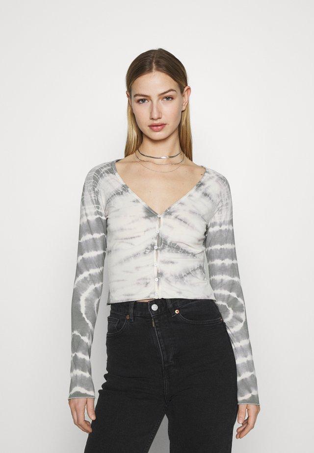 VIOLA  - Kardigan - tie dye grey with white