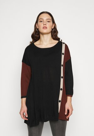 BUTTON COLOUR BLOCK JUMPER - Jumper - black