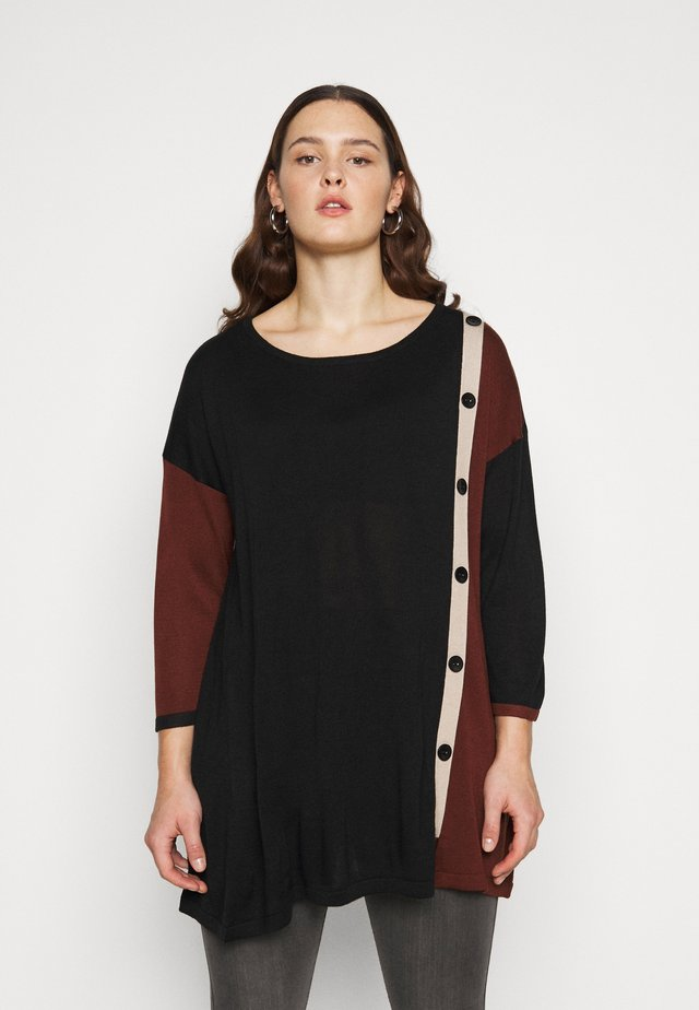 BUTTON COLOUR BLOCK JUMPER - Jersey de punto - black