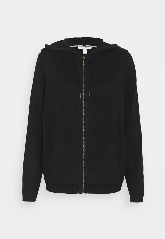 ZIP HOODED - Kardigan - black