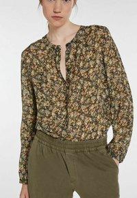 SET - Button-down blouse - black green - 3