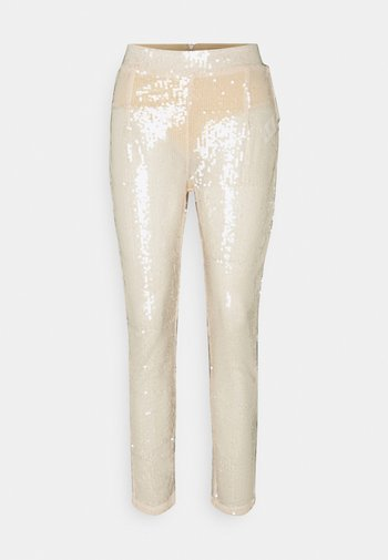 ALL OVER SEQUIN TROUSER - Kalhoty - ivory
