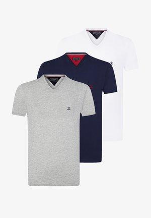 T-shirt basic - navy white grey melange