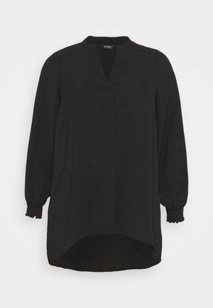NEHRU COLLAR BLACK WOVEN TUNIC - Tunika - black