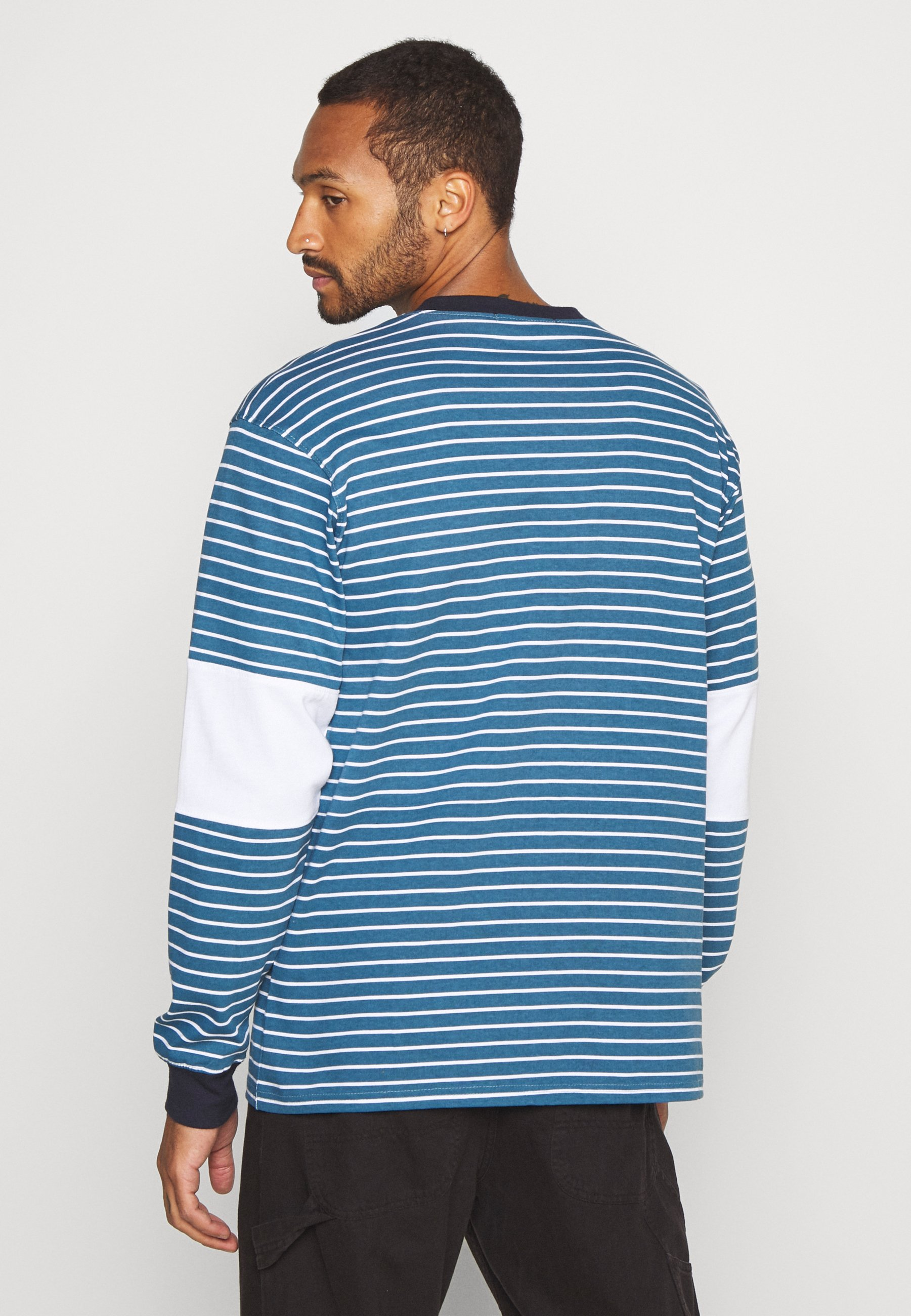 Mennace PANEL BLOCK STRIPE TEE - Long sleeved top - teal OHP5U