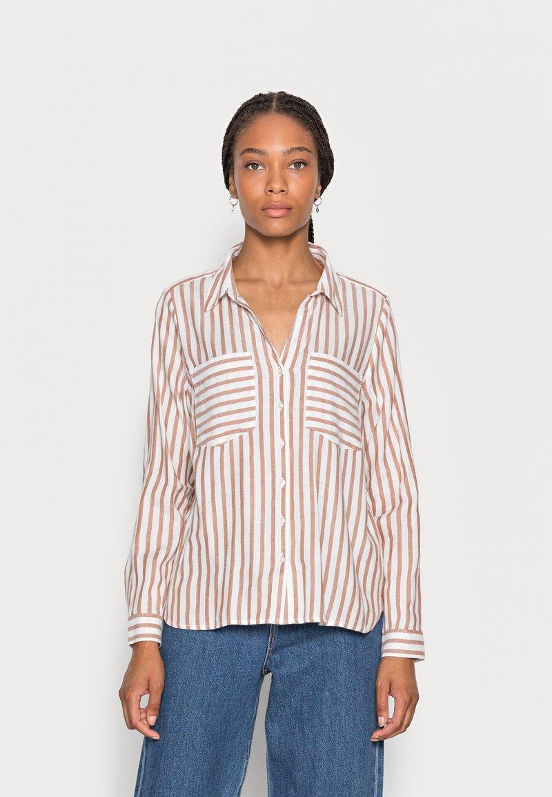 TOM TAILOR DENIM - STRIPED COZY  - Button-down blouse - grey white vertical stripe