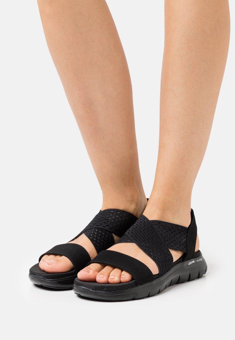 Skechers Sport - FLEX APPEAL 2.0 - Sandals - black gore