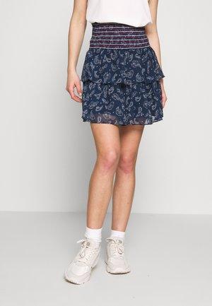 SMOCK DETAIL SKIRT - Pleated skirt - dark blue