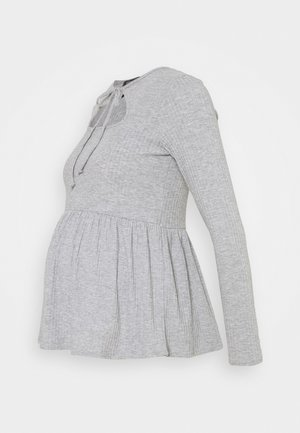SOFT CUT OUT PEPLUM - Maglietta a manica lunga - mid grey