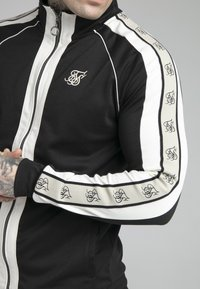 SIKSILK - PREMIUM TAPE FUNNEL ZIP THROUGH HOODIE - Felpa aperta - jet black/off white - 4