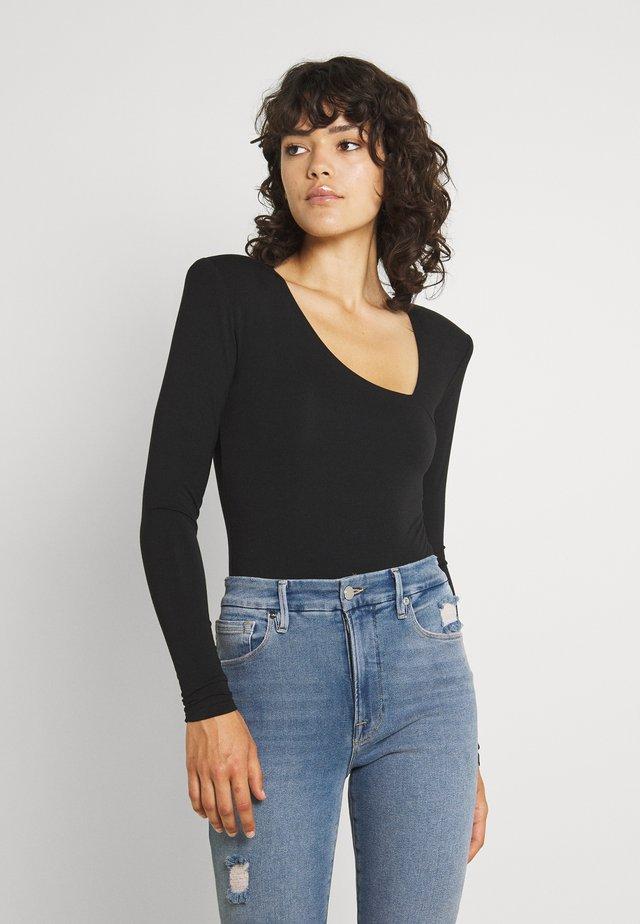 ASYMMETRIC LONG SLEEVE BODY - Long sleeved top - black