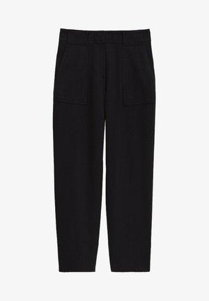 MIT AUFGENÄHTER TASCHE  - Trousers - blue-black denim