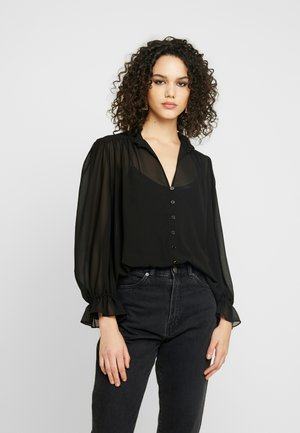 XANNA SHEER BLOUSE - Button-down blouse - black